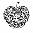 Beautiful black and white apple decorated with floral pattern. — Stock Vector