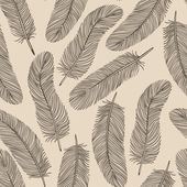 Vintage Feather seamless background. — Stock Vector