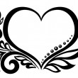Black-and-white symbol of a heart with floral design and butterfly. — Stock Vector