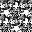 Stock Vector: Black and white floral seamless pattern.