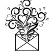 Envelope with floral design and hearts, the symbol of love confessions. — Stock Vector