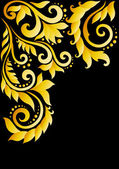 Golden floral ornament with leaves and swirls in the old style on a black background. — Stock Vector