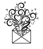 Envelope with floral design and hearts, the symbol of love confessions. — 图库矢量图片