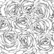 Black and white seamless background. Roses hand-drawn. — Stock Vector