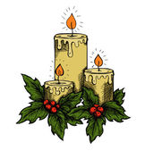 Graphic drawing candles and holly berries and leaves. — Stock Vector