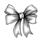 Beautiful ribbon tied in a bow. Freehand drawing in graphic style pen and ink — 图库矢量图片