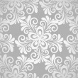 Excellent seamless floral background with flowers in silver. — Stock Vector