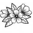 Branch of a blossoming tree in graphic black white style, drawing by hand. Symbol of spring — Stock Vector #38628671