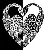 Black and white swans from flowers, leaves and curls, in the form of heart — Vecteur