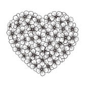 Black-and-white contour of flowers in the form of heart — Vector de stock