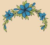 Belle branche avec des fleurs. dessiné dans un style graphique rétro. belle décoration pour une carte postale. — Vecteur