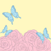 Beautiful background for greeting cards and text with butterflies and roses retro pastel colors — Stock vektor