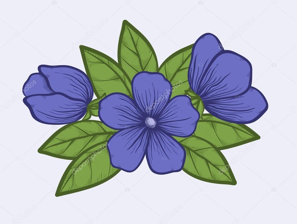 Imagenes De Dibujos De Flores A Color: Árbol De Flores En Colores Pastel. Gráfico De Estilo De