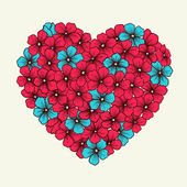 Heart with flowers painted in graphic style retro pink and blue colors — Stock Vector