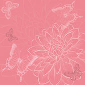 Beautiful background with flowers and butterflies, hand-drawn in graphic style — Stock Vector