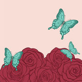 Beautiful background for greeting cards and text with butterflies and roses in a hand-drawn graphic style in vintage colors — Stock Vector