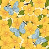 όμορφη ομοιογενές φόντο με τα κλαδιά των ανθίζοντας δέντρων και πεταλούδες — Διανυσματικό Αρχείο