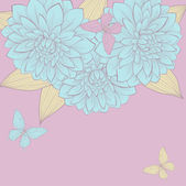 Beautiful background with a border of flowers dahlias with leaves and butterflies. Vintage color. — Διανυσματικό Αρχείο