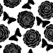 Beautiful seamless background with monochrome black and white butterflies and roses. — Stock Vector #41051333