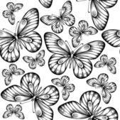 美丽的蝴蝶黑色和白色颜色的无缝背景. — 图库矢量图片