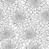 Fundo transparente bonito com flores preto e brancos monocromáticos — Vetor de Stock