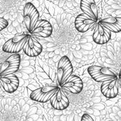 Beautiful black and white seamless pattern with flowers and butterflies — Stock Vector