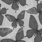 Beautiful monochrome black and white seamless background with flying butterflies — Διανυσματικό Αρχείο