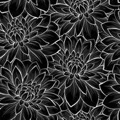 όμορφη ομοιογενές φόντο με μονόχρωμη και μαύρο και άσπρο λουλούδια — Διανυσματικό Αρχείο