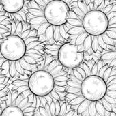 Beautiful black and white seamless background with sunflowers. Hand-drawn contour lines and strokes — Stock Vector