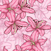 Seamless background with pink lily. — Wektor stockowy