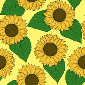 Beautiful seamless background with sunflowers. — Stock Vector
