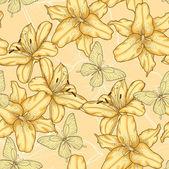 Sömlös bakgrund med gula liljor och fjärilar. — Stockvektor