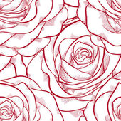 Red and white seamless pattern in roses with contours. — Wektor stockowy