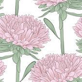 Sömlös bakgrund med rosa blommor aster på en vit — Stockvektor