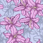 Sömlös bakgrund med violett liljor. — Stockvektor