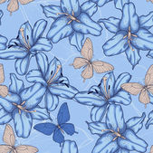 Seamless background with blue lilies. — Wektor stockowy