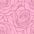 Beautiful seamless pattern in pink roses with contours. Hand-drawn contour lines and strokes. Perfect for background greeting cards and invitations to the day of the wedding, birthday, Valentine's Day — Stock Vector #42941797