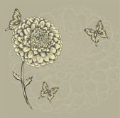 Beautiful flower with butterflies. Hand-drawn contour lines and watercolor effect . — ストックベクタ