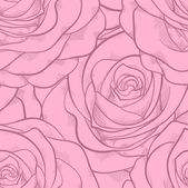 Beautiful seamless pattern in pink roses with contours. Hand-drawn contour lines and strokes. Perfect for background greeting cards and invitations to the day of the wedding, birthday, Valentine's Day — Stock Vector