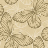 Beautiful seamless background with brown butterflies. — Stock Vector