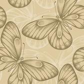 Vacker sömlös bakgrund med bruna fjärilar. — Stockvektor