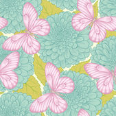Beautiful seamless pattern with flowers chrysanthemums, leaves and butterflies — Wektor stockowy