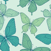 Beautiful seamless background with blue butterflies. — ストックベクタ