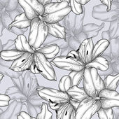 Black and white seamless background with lilies. — Wektor stockowy