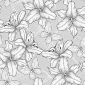 Black and white seamless background with lilies and butterflies. — Wektor stockowy