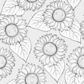 Black and white seamless background with sunflowers. — Stok Vektör