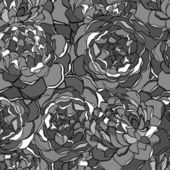 Sömlös bakgrund med enfärgade svarta och vita blommor. — Stockvektor