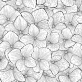 Seamless pattern with monochrome, black and white flowers — Wektor stockowy
