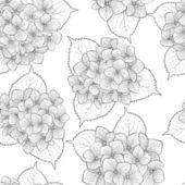 Sömlös bakgrund med svarta och vita blommor — Stockvektor