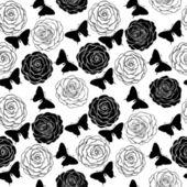 Sömlös bakgrund med enfärgade svarta och vita fjärilar och rosor. — Stockvektor